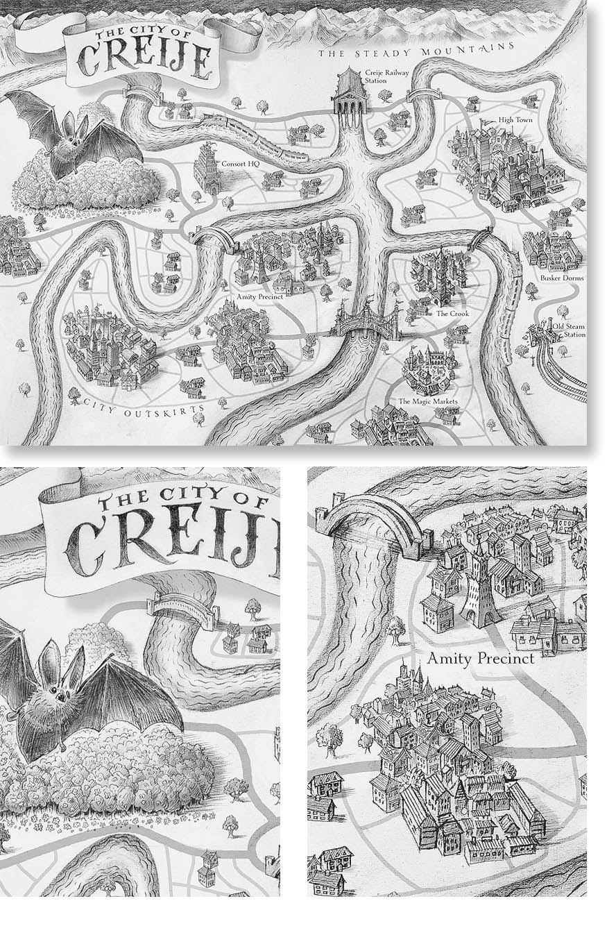 Illustration and hand-lettered map for children's book. For Bonnier